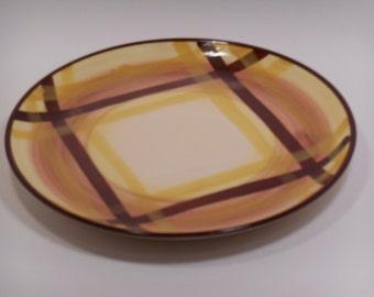 Vernon Vernonware Organdie Yellow & Brown Plaid Look Alike, Star Stone Brown Plaid 8009, Single Salad Lunch Dessert Plate