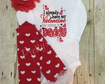 Valentines Day Outfit for Newborn, Baby Girl & Kids – 3-Piece Set for Daddy