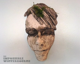 Female Face Sculpture - Stone Finish with Eye Stripe and Moss