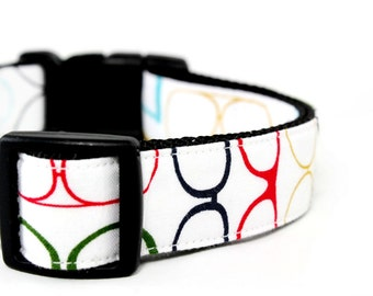 Geek Dog Collar Funky Eye Glasses Geeky Nerd Nerdy Dog Collar