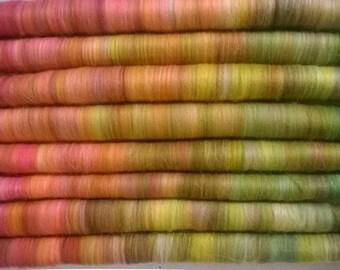 Rolag Puni-Poppy Fields - spinning felting fiber arts needle felt nuno felt superwash merino wool orange green yellow