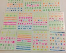 Neon nail art decals 4 sheets