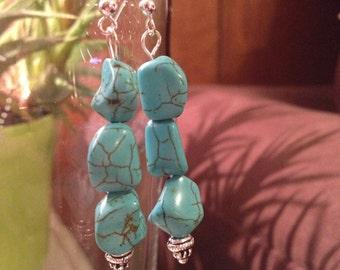 Genuine turquoise dangle earrings