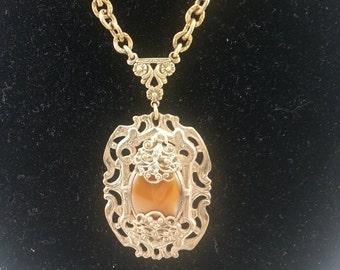 Satin Glass Necklace/ Filigree Necklace/ Gablonz Necklace