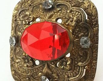 Antique Hat Pin/ Red Hat Pin/ Czech Glass Hat Pin/ Gablonz Hat Pin/ Hatpin/ Art Nouveau Hat Pin