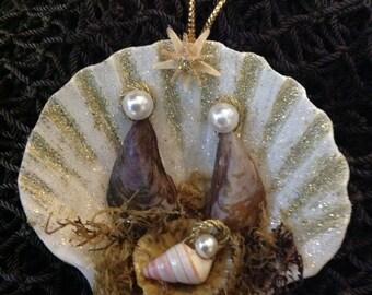 Mussel Seashell Nativity Ornament- Manger Scene Ornament