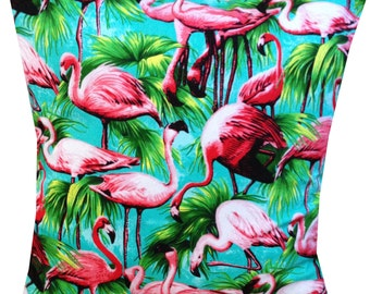 Designer flamingo pink tropical turqouise 50's retro funky cushion cover