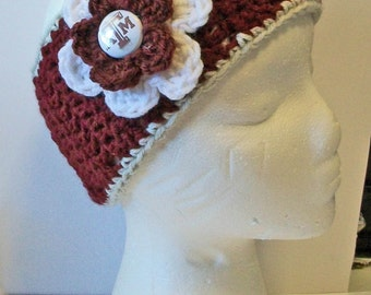 Trendy Maroon, Gray and White Aggies Inspired Hand Crocheted Headband Ear Warmer Child & Adult Sizes Available