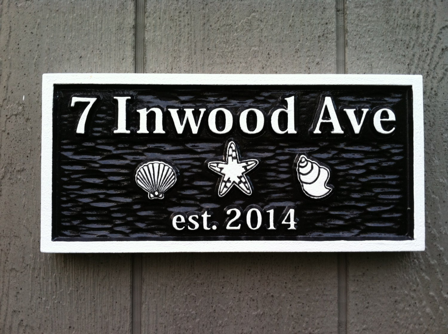 carved street address plaque house number with sea creatures. Black Bedroom Furniture Sets. Home Design Ideas