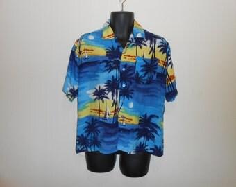 Vintage 70s 80s Rayon Palm Tree Sunset Magnum PI Hawaiian Shirt Sz L