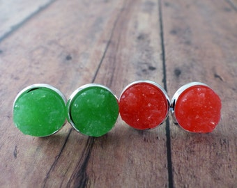 Neon Green & Red Faux Druzy Studs
