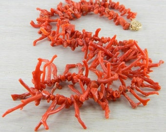 14K Gold Filled Italian Red Coral Branch Beaded Necklace Antique AN-N40