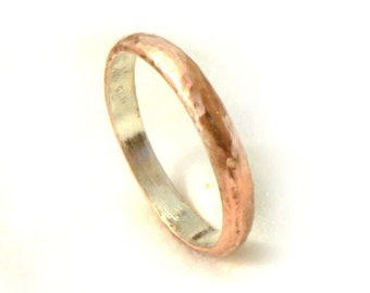 Classic men's wedding ring, hammered rose gold, unisex wedding band, classic with a twist, lightweight gold ring, ilanamir