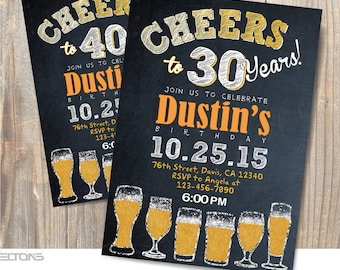 Beer Birthday Party Printable invitation / 30th - 40th - 50th - 60th Birthday Party Invitation / DIY / Chalkboard Theme Invitation