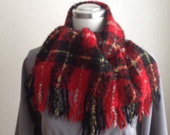 Wool scarf - Mohair Scarf Red - Mohair Shawl Red - Plaid Scarf Red - Gift for Him - Gift for Her