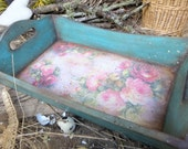 Wooden Serving Tray-Vintage Tray-Roses- Green and Pink-Decoupage Tray