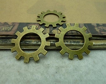 15 pcs 25mm Antique Bronze gears wheels  gearwheels Watch movements connectors links Charms Pendants