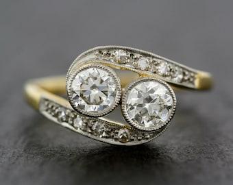 Antique Engagement Ring - Art Deco Diamond Twist 14ct Gold & Platinum Antique Engagement Ring