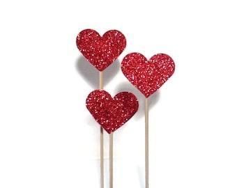 Glitter Love Heart Cake Toppers/Wedding Cake Topper/Cake Pokes. Set of Three. Red Glitter- Wedding - Engagement - Anniversary.