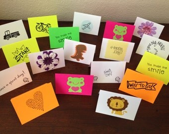 Set of 18, Lunch Box Notes, Mini Notes, School Lunch Notes, Mini cards, Mini Love Notes, Kids Encouragement, Children, Back to school notes