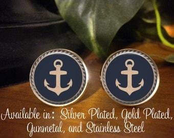 Cufflinks - Nautical Anchor  - Birthday Gift