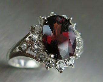 4ct Natural Red Zircon 10.20x7.60mm & white topaz Sterling .925 silver engagement all sizes