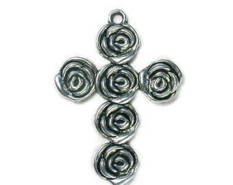 BULK 10 Silver Rose Cross Pendant Necklace Large 53x39mm by TIJC SP0993B