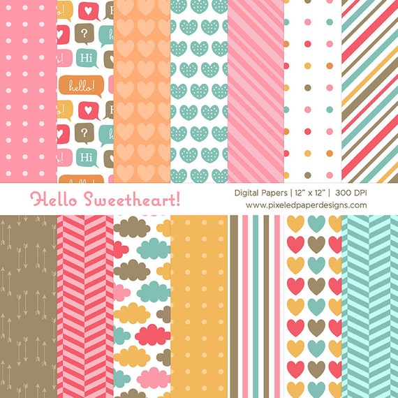Hello Sweetheart Digital Paper Pack - Bright Patterned Background for Scrapbooking, Card, Invites, Valentine | Commercial License Available