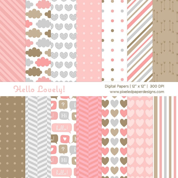 Hello Lovely Digital Paper Pack - Pink Digital Background for Scrapbook, Card, DIY projects, Valentine, etc | Commercial License Available