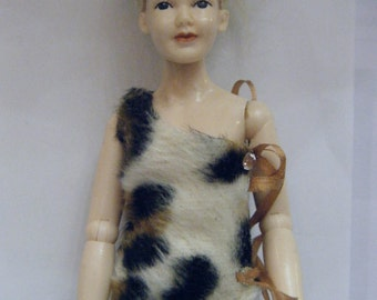 1:12 scale dollhouse miniature women's leopard top with black mini skirt for Heidi doll by Jing's Creations
