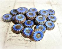 6 x Moroccan Blue Daisy Coin Czech Glass Beads