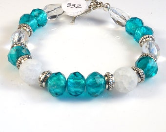 Aqua and White with Silver Accents Women's stackable bracelet, stacking bracelet, statement bracelet, beaded bracelet