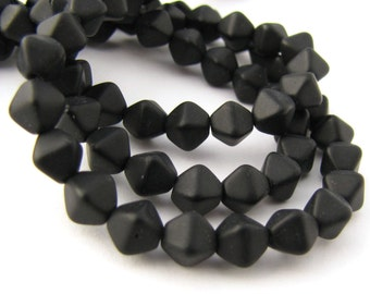 Matte Jet Black 6mm Bicone Czech Glass Beads 50pc #939