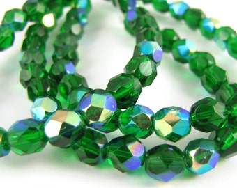 Green Emerald AB 6mm Facet Round Czech Glass Fire Polished Beads 25pc #2355