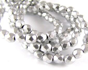 Matte Metallic Silver 4mm Facet Round Czech Glass Fire Polished Beads 50pc #2591