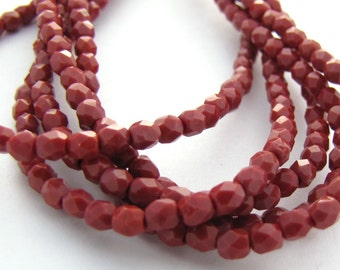 Burnt Umber 3mm Facet Round Czech Glass Fire Polished Beads 50pc #2662
