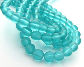 Matte Teal 6mm Smooth Round Czech Glass Beads 50pc #2706