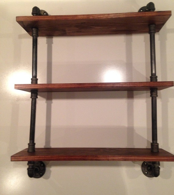 Pipe Shelves Kitchen: Three Tier Industrial Pipe / Wood Shelf By