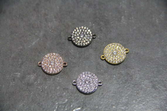 CZ Micro Pave 15mm Coin Connectors