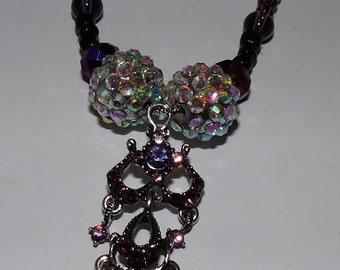 Purple & Black Bead Rhinestone Chandelier Pendant Necklace