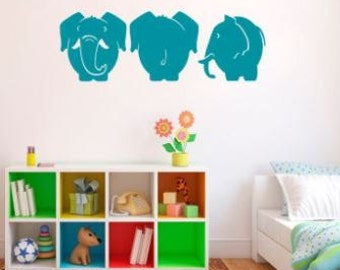 Three Elephants Vinyl Wall Art Decal Baby Nursery Home Decor