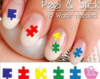 Autism nails etsy autism awareness nail art decal sticker set autism puzzle pieces prinsesfo Images