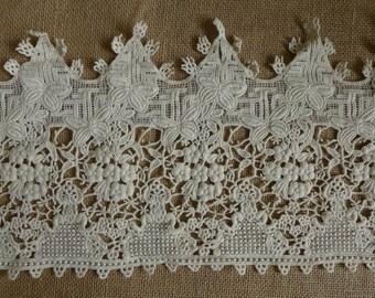 "Wider Cotton Lace in Beige, Antique-style Lace, Ecru Cotton Lace, 8.54"" wide 1 yard"