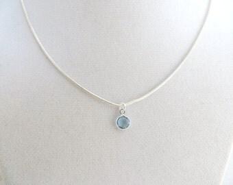 Birthstone Necklace Aquamarine March Birthday Gift Swarovski Minimalist Bridesmaids Sterling Silver Wedding