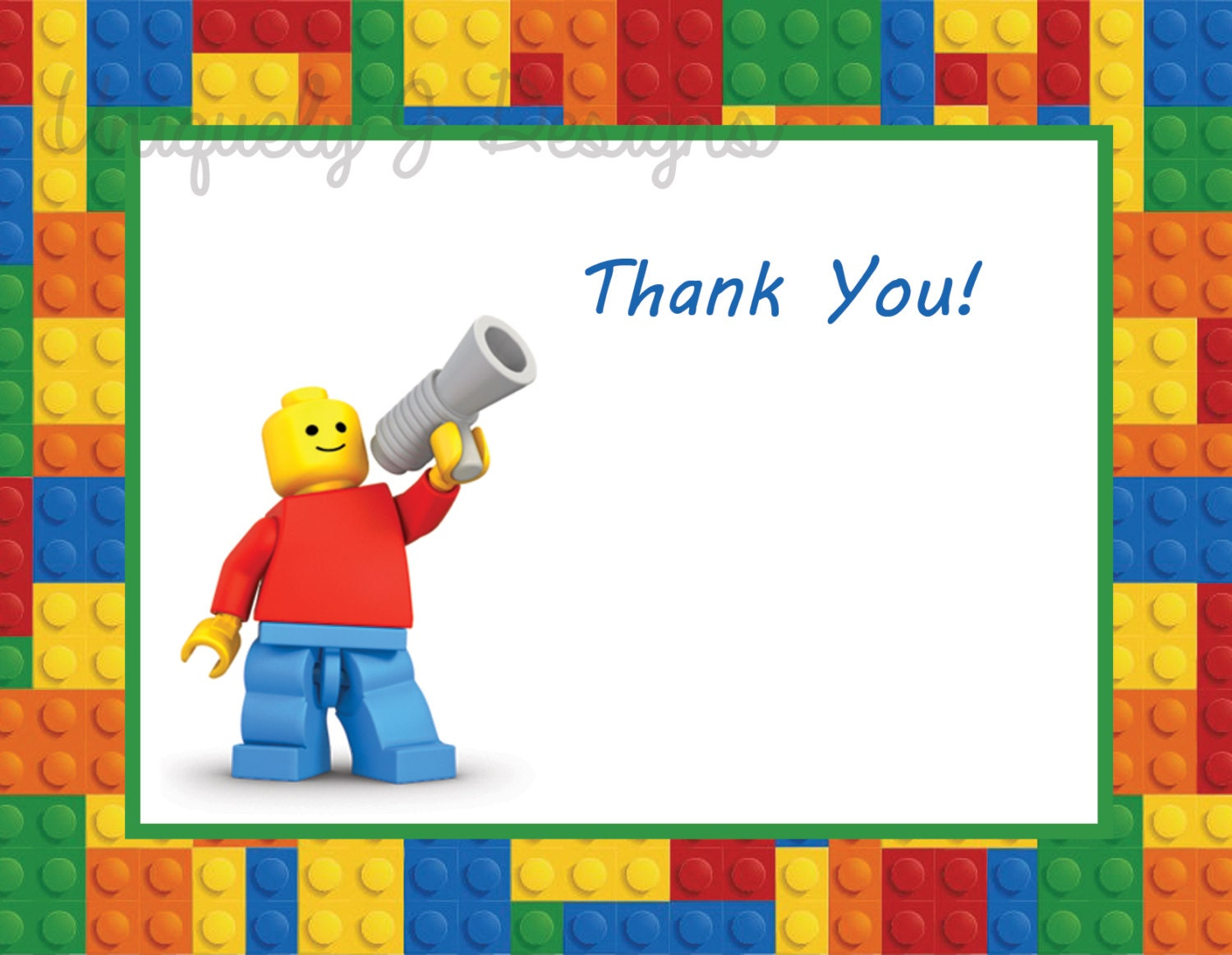 Lego Thank You Cards Instant Download by UniquelyJDesigns on Etsy