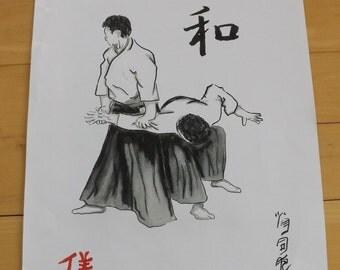 Aikido art,martial arts, Aikido art, budo art, iriminage throw with kanji peace