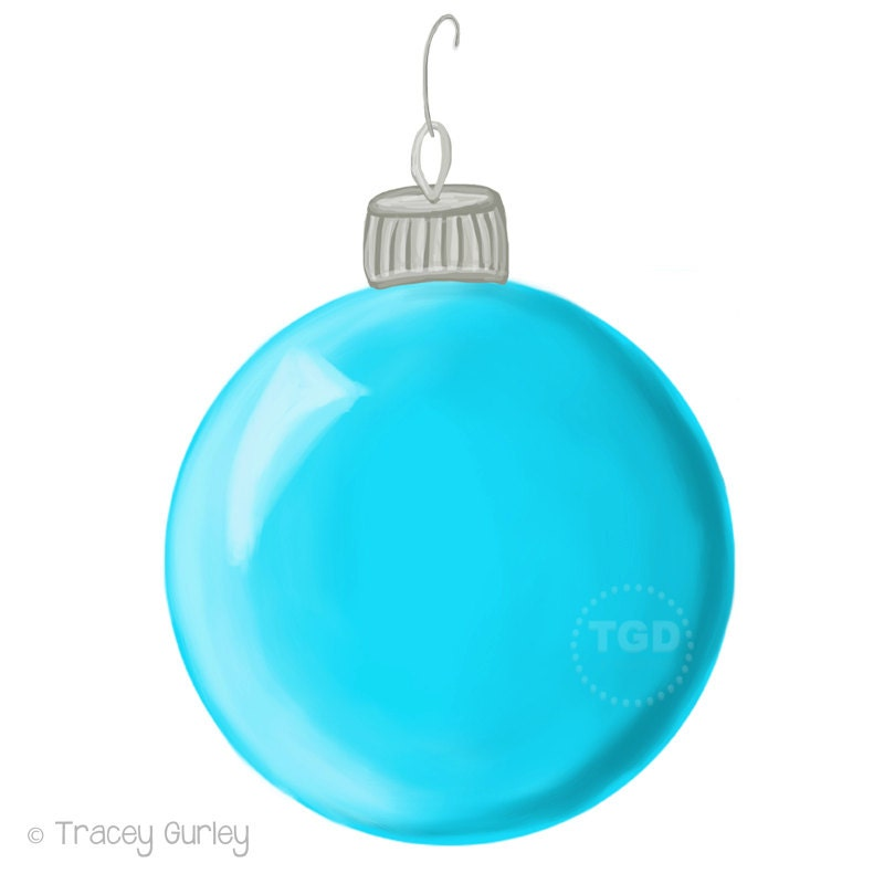 Turquoise christmas ornament clip art hand painted