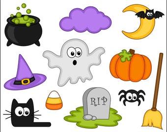 Cute Halloween Clipart, Digital Clip Art, Pumpkin, Black Cat, Ghost, Spider, Grave - Instant Download Clipart - YDC049