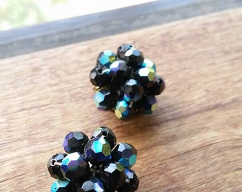 Retro Iridescent purple bead cluster clip on earrings