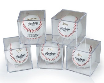 Groomsmen Gift - Set of 4 Rawlings Baseballs With Acrylic Cases - Laser Engraved - Jr. Groomsmen Gift - Ring Bearer Gift - FREE ENGRAVING